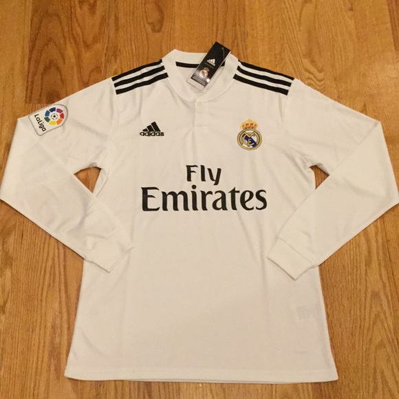 brand new c64b7 c96a5 2018/19 Real Madrid Long Sleeve Soccer Jersey Home NWT